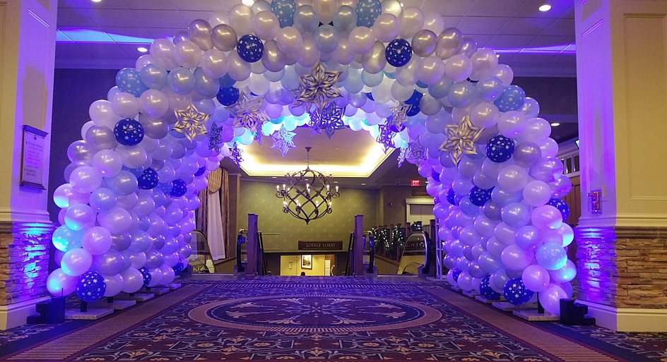 Blue Balloon Archway in Party Room