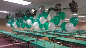 Party Balloon Centerpieces - Green and White